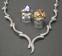 Blue Tanzanite, Yellow Imperial Topaz with 14K yellow gold